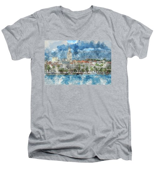 City Of Split In Croatia With Birds Flying In The Sky Men's V-Neck T-Shirt