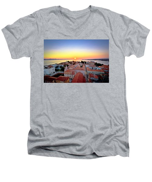 City Of Zadar Skyline Sunset View Men's V-Neck T-Shirt