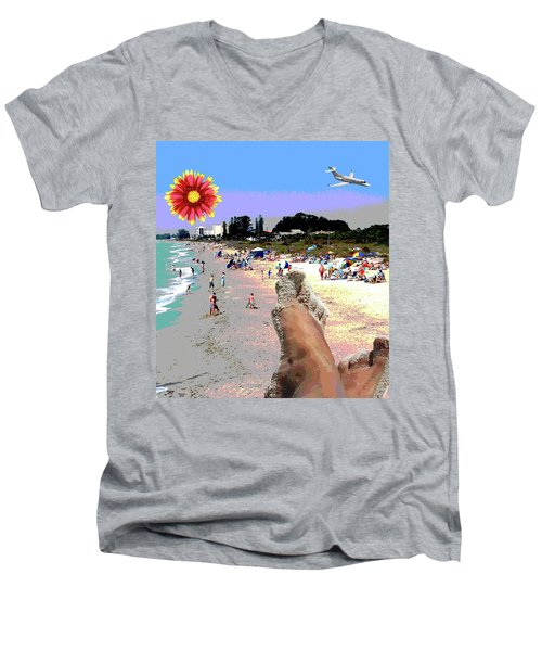 City On The Gluf Men's V-Neck T-Shirt by Charles Shoup