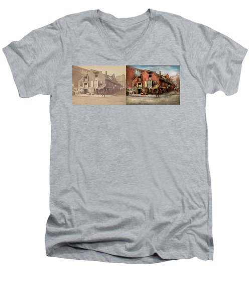 Men's V-Neck T-Shirt featuring the photograph City - Pa - Fish And Provisions 1898 - Side By Side by Mike Savad