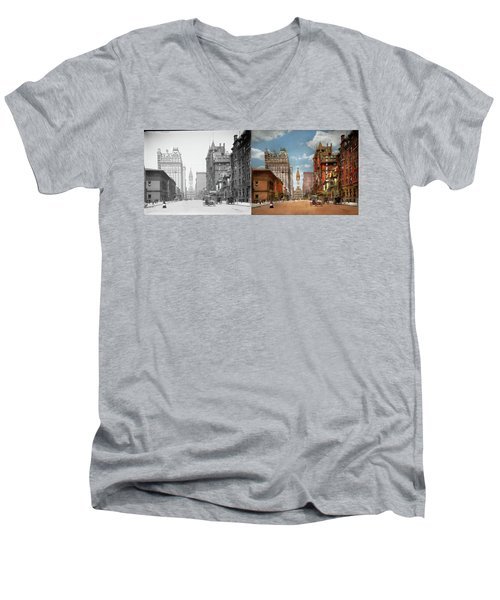 Men's V-Neck T-Shirt featuring the photograph City - Pa Philadelphia - Broad Street 1905 - Side By Side by Mike Savad