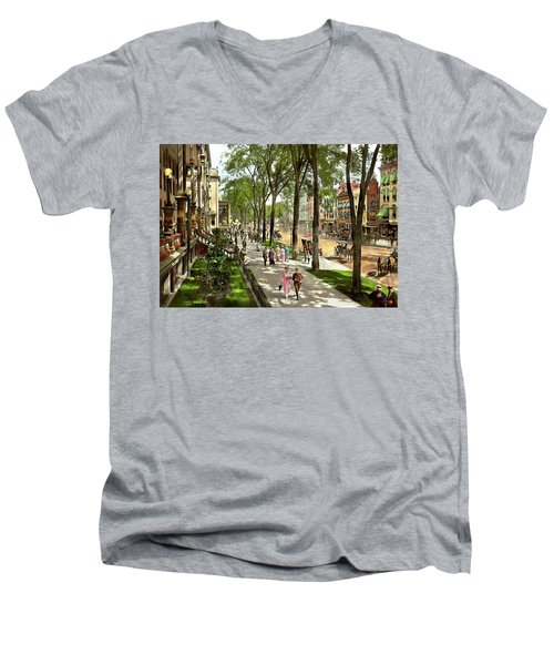 Men's V-Neck T-Shirt featuring the photograph City - Saratoga Ny -  I Would Love To Be On Broadway 1915 by Mike Savad