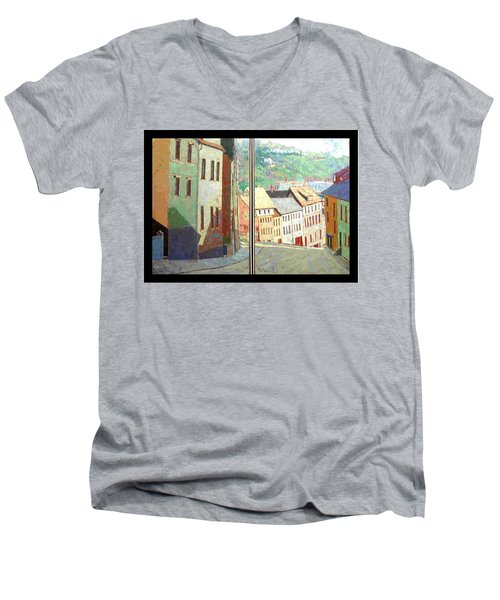 Men's V-Neck T-Shirt featuring the painting City Scape-dyptich by Walter Casaravilla