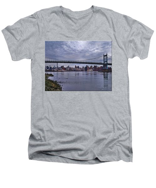 City Scape From Astoria Park Men's V-Neck T-Shirt by Mikki Cucuzzo