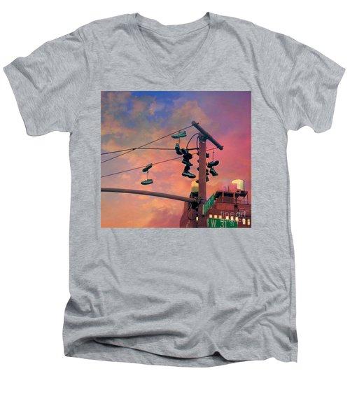 City Shoe Flinging Men's V-Neck T-Shirt