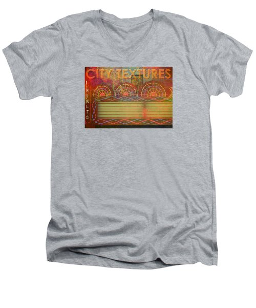 Men's V-Neck T-Shirt featuring the mixed media City Textures Theater by John Fish