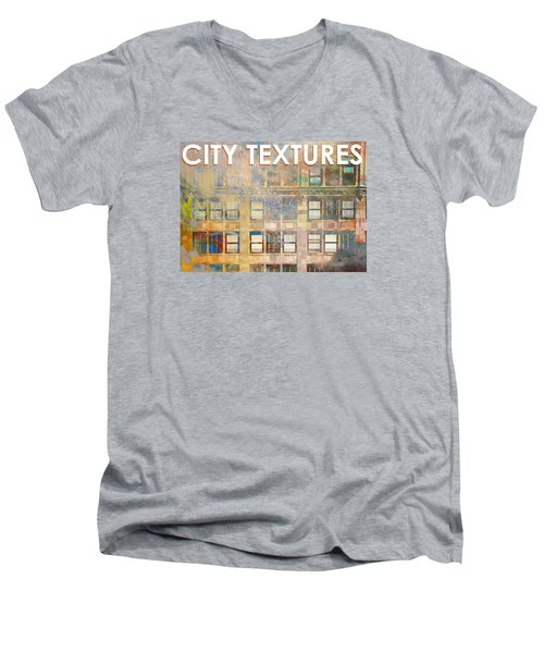 Men's V-Neck T-Shirt featuring the mixed media City Textures Windows by John Fish