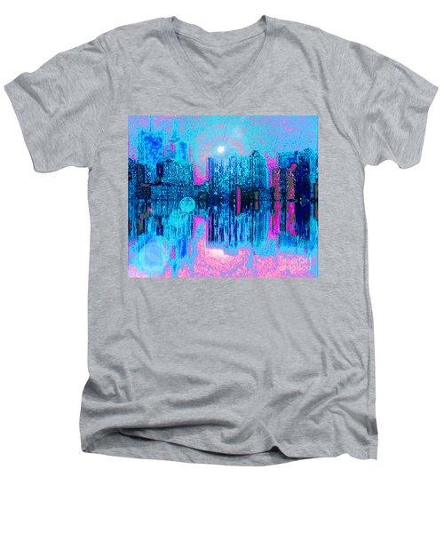 City Twilight Men's V-Neck T-Shirt by Holly Martinson