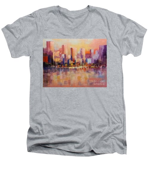 Men's V-Neck T-Shirt featuring the painting Cityscape 2 by Rosario Piazza