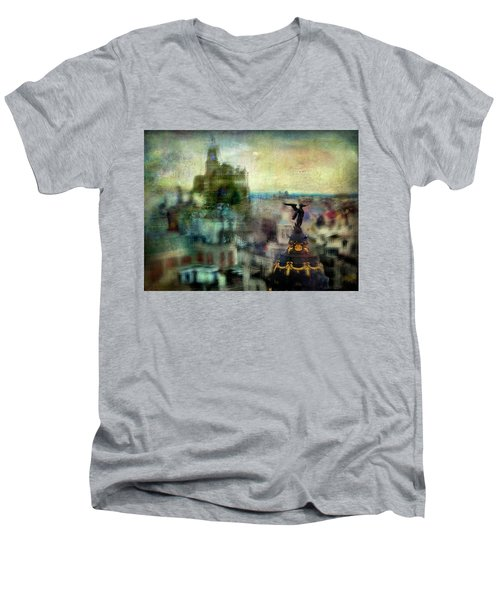 Men's V-Neck T-Shirt featuring the photograph Cityscape 38 - Homeless Angels by Alfredo Gonzalez