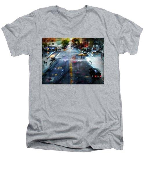 Men's V-Neck T-Shirt featuring the photograph Cityscape 39 - Crossroads by Alfredo Gonzalez