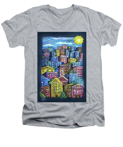 Cityscape Sculpture Men's V-Neck T-Shirt