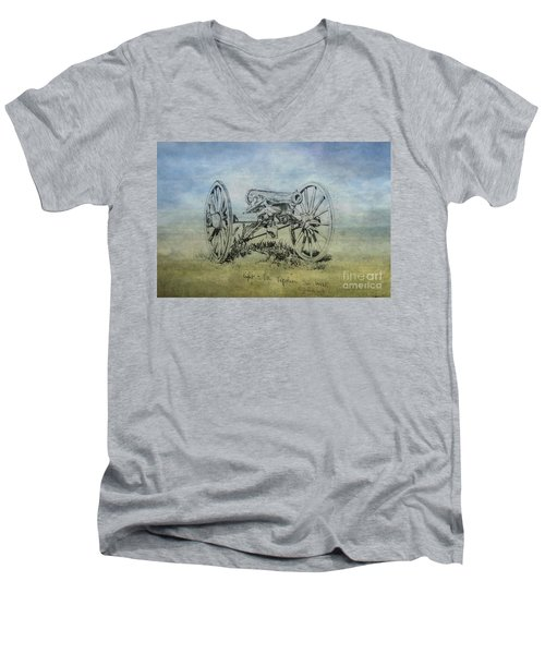Men's V-Neck T-Shirt featuring the digital art Civil War Cannon Sketch  by Randy Steele