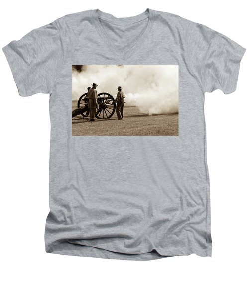 Civil War Era Cannon Firing  Men's V-Neck T-Shirt