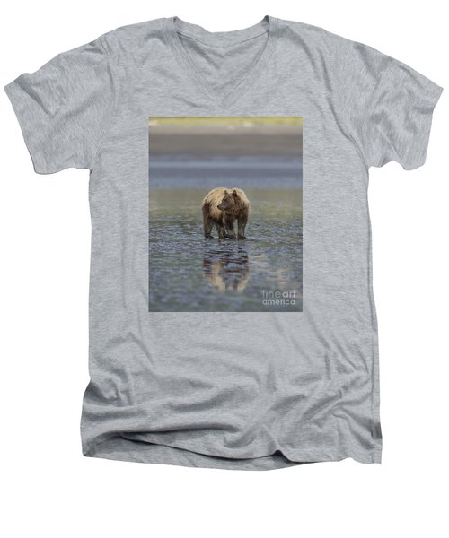 Men's V-Neck T-Shirt featuring the photograph Clamming The Day Away by Sandra Bronstein