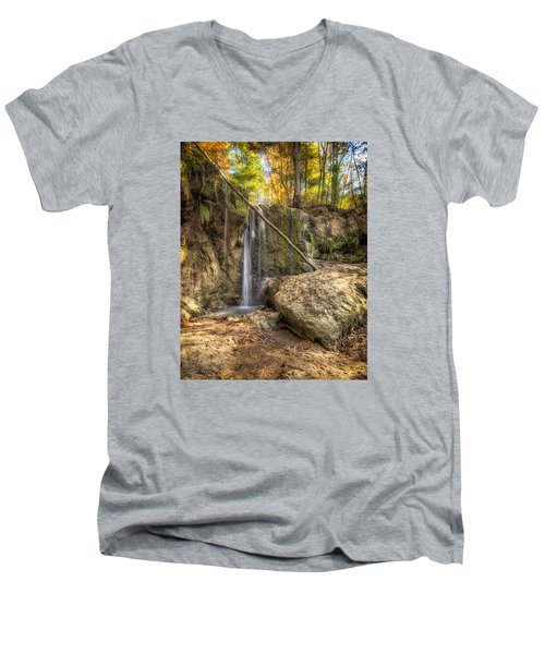 Men's V-Neck T-Shirt featuring the photograph Clark Creek Nature Area Waterfall No. 1 by Andy Crawford