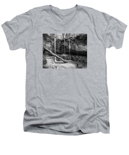 Men's V-Neck T-Shirt featuring the photograph Clark Creek Nature Area Waterfall No. 2 In Black And White by Andy Crawford