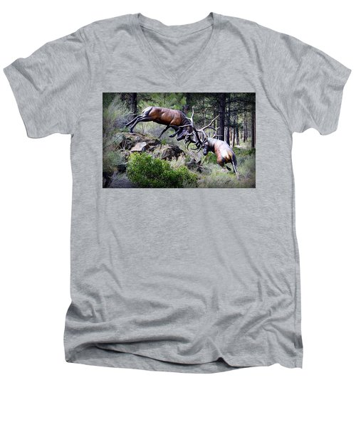 Men's V-Neck T-Shirt featuring the photograph Clash Of The Titans by AJ Schibig