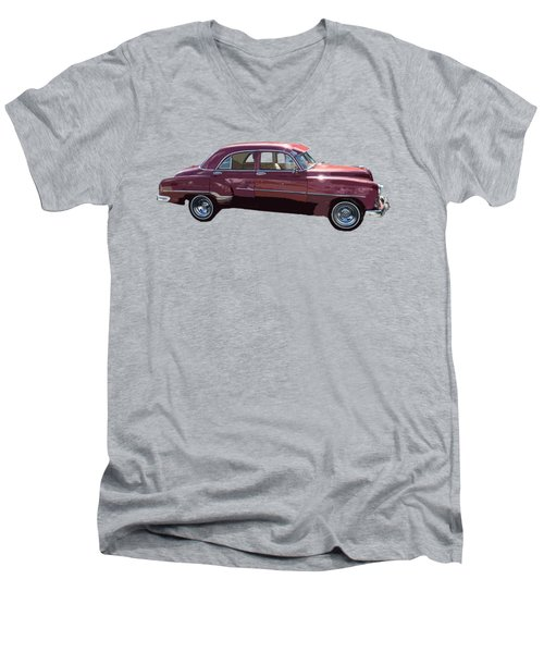 Classic Car Art In Red Men's V-Neck T-Shirt