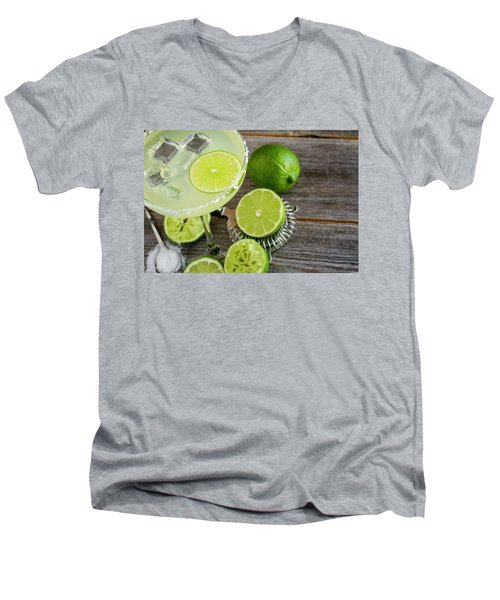 Men's V-Neck T-Shirt featuring the photograph Classic Lime Margarita by Teri Virbickis