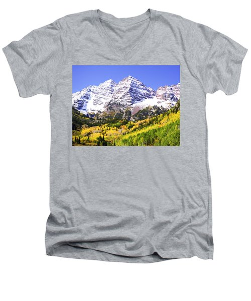 Classic Maroon Bells Men's V-Neck T-Shirt
