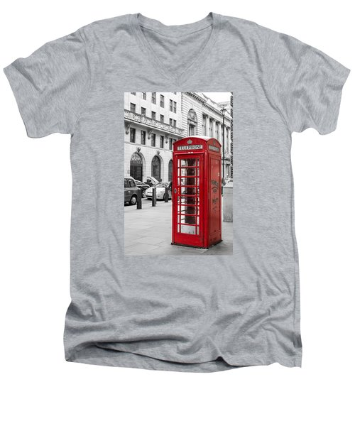 Red Telephone Box In London England Men's V-Neck T-Shirt by John Williams
