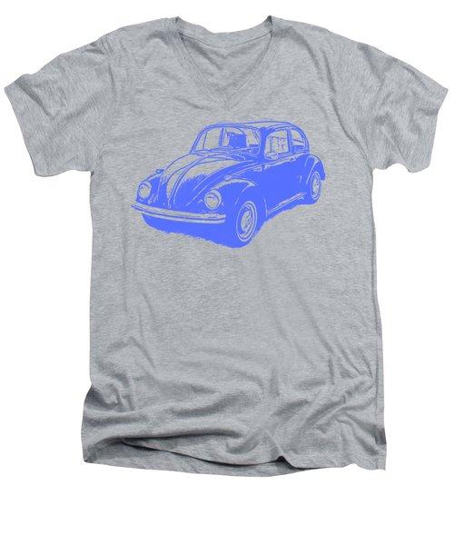 Classic Vw Beetle Tee Blue Ink Men's V-Neck T-Shirt by Edward Fielding
