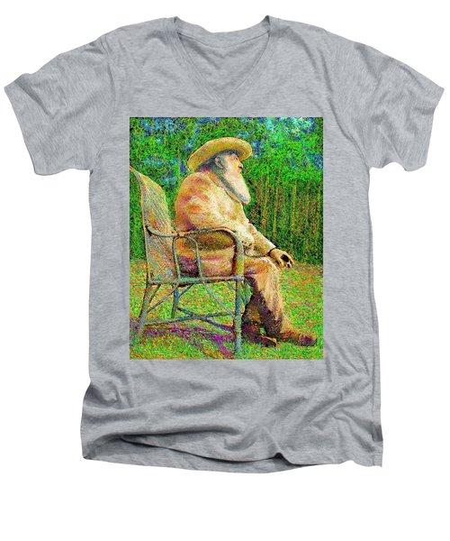 Claude Monet In His Garden Men's V-Neck T-Shirt