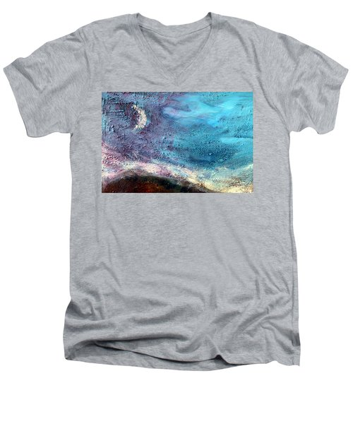 Men's V-Neck T-Shirt featuring the painting Clay Moon by Winsome Gunning