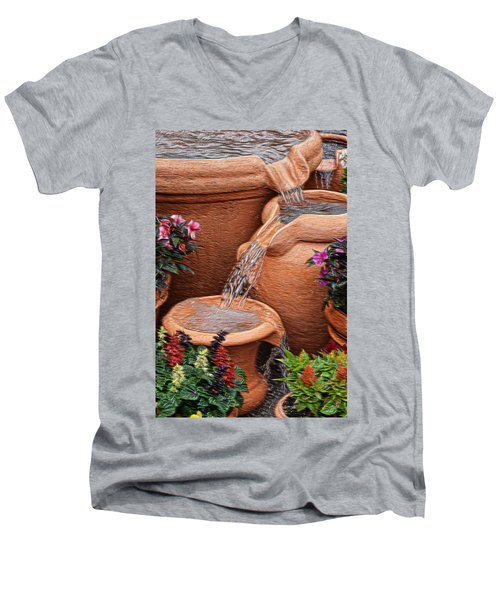 Clay Pot Fountain Men's V-Neck T-Shirt