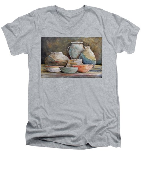 Men's V-Neck T-Shirt featuring the painting Clay Pottery Still Lifes-a by Jean Plout
