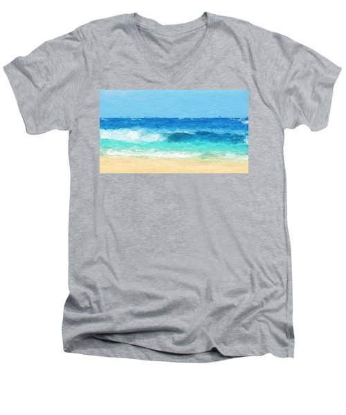 Clear Blue Waves Men's V-Neck T-Shirt by Anthony Fishburne