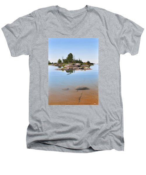 Men's V-Neck T-Shirt featuring the painting Clear Contentment by Kenneth M Kirsch