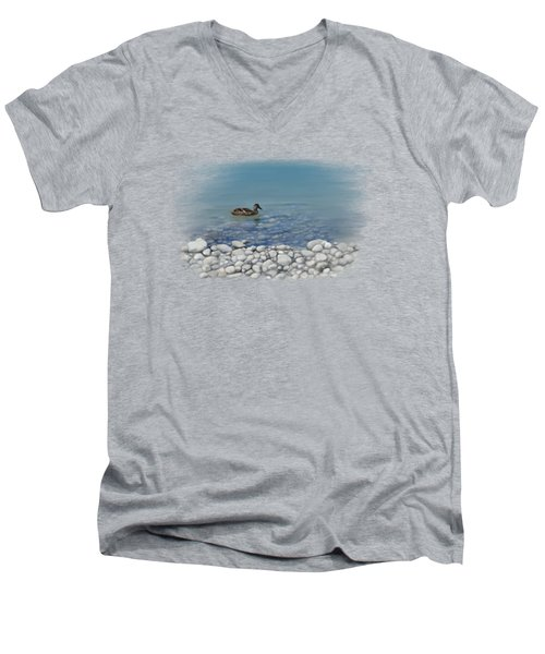 Men's V-Neck T-Shirt featuring the painting Clear Water  by Ivana Westin