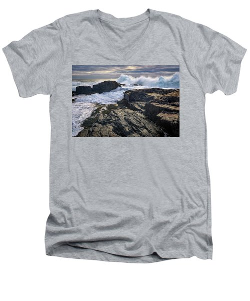 Men's V-Neck T-Shirt featuring the photograph Clearing Storm At Bald Head Cliff by Rick Berk