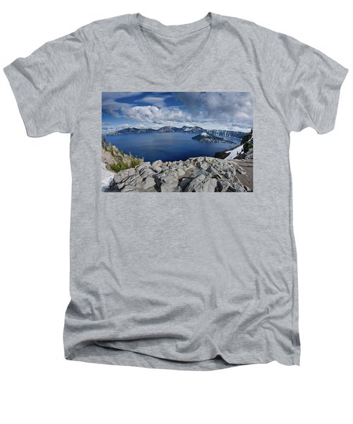 Clearing Storm At Crater Lake Men's V-Neck T-Shirt