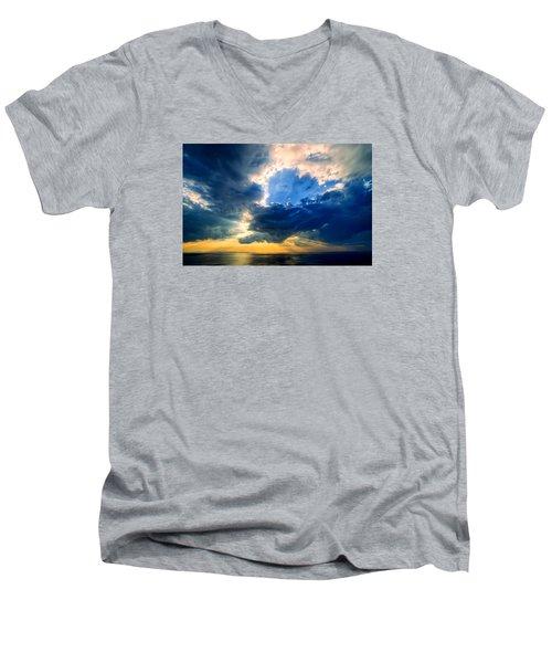 Clearing Storm Halibut Pt. Men's V-Neck T-Shirt by Michael Hubley