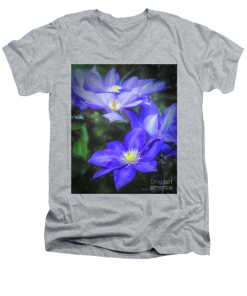Men's V-Neck T-Shirt featuring the photograph Clematis by Linda Blair
