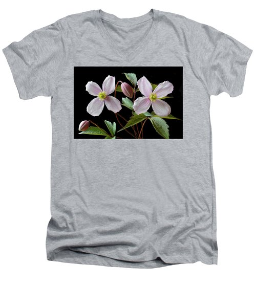 Men's V-Neck T-Shirt featuring the photograph Clematis Montana Rubens by Terence Davis