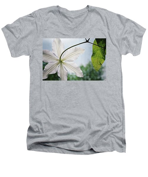 Men's V-Neck T-Shirt featuring the photograph Clematis Vine And Leaves by Michelle Calkins