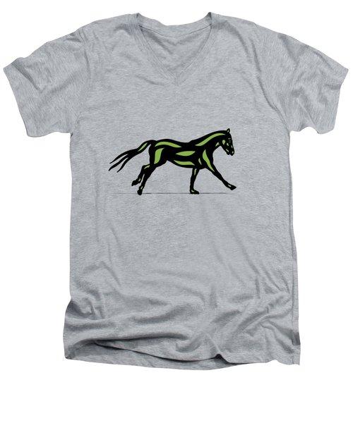 Clementine - Pop Art Horse - Black, Geenery, Hazelnut Men's V-Neck T-Shirt