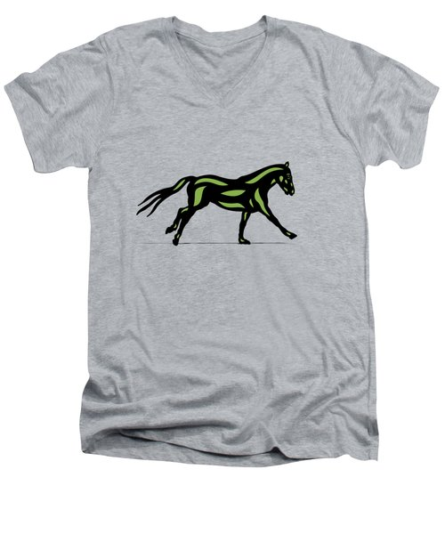 Clementine - Pop Art Horse - Black, Geenery, Hazelnut Men's V-Neck T-Shirt