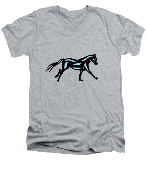 Clementine - Pop Art Horse - Black, Island Paradise Blue, Primrose Yellow Men's V-Neck T-Shirt
