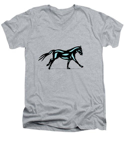 Clementine - Pop Art Horse - Black, Island Paradise Blue, Primrose Yellow Men's V-Neck T-Shirt