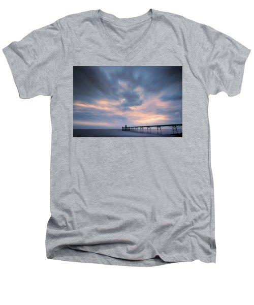 Clevedon Pier Men's V-Neck T-Shirt by Dominique Dubied