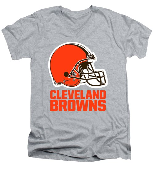 Cleveland Browns On An Abraded Steel Texture Men's V-Neck T-Shirt