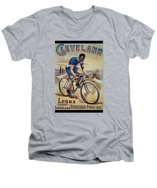 Cleveland Lesna Cleveland Gagnant Bordeaux Paris 1901 Vintage Cycle Poster Men's V-Neck T-Shirt