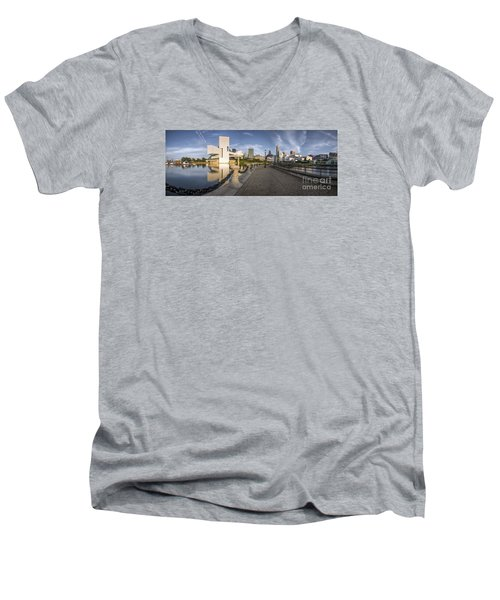 Cleveland Panorama Men's V-Neck T-Shirt by James Dean