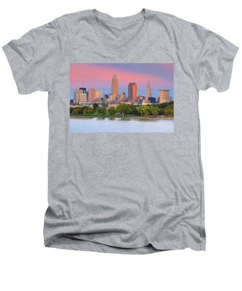 Men's V-Neck T-Shirt featuring the photograph Cleveland Skyline 6 by Emmanuel Panagiotakis