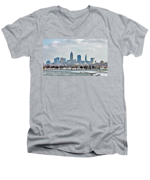 Cleveland Skyline In Winter Men's V-Neck T-Shirt by Bruce Patrick Smith
